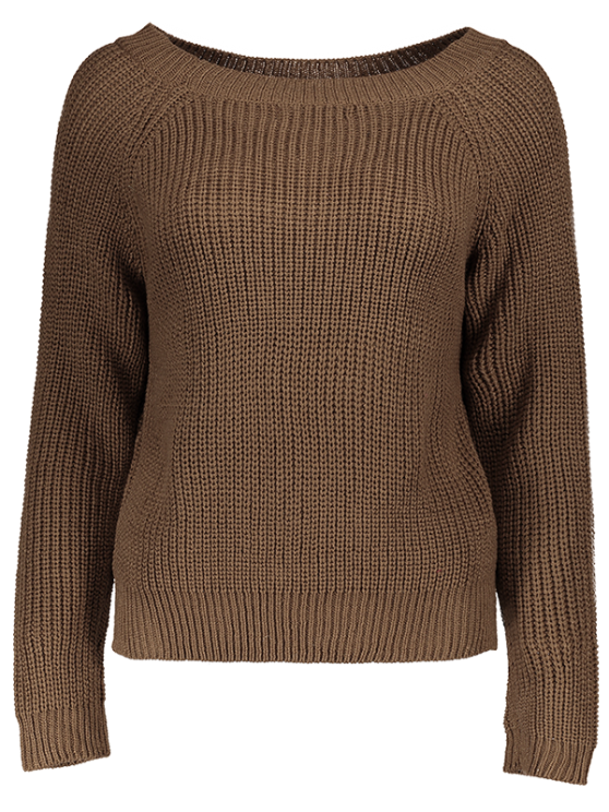 Boat Neck Loose Sweater - COFFEE ONE SIZE Mobile