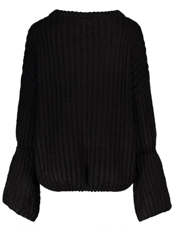 Bell Sleeve Chunky Sweater - BLACK ONE SIZE Mobile