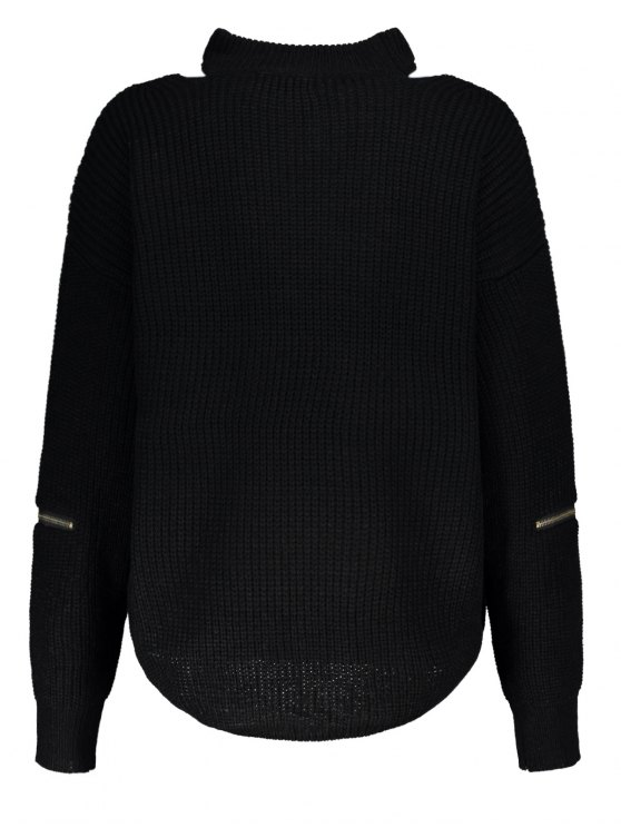 Cut Out Chunky Choker Sweater - BLACK ONE SIZE Mobile