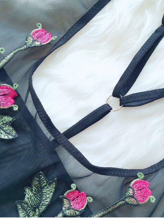 See-Through Floral Teddies - BLACK M Mobile