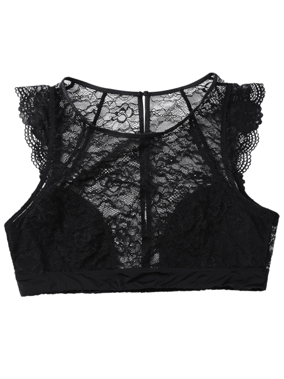 See Thru Lace Bralette Top - BLACK XL Mobile