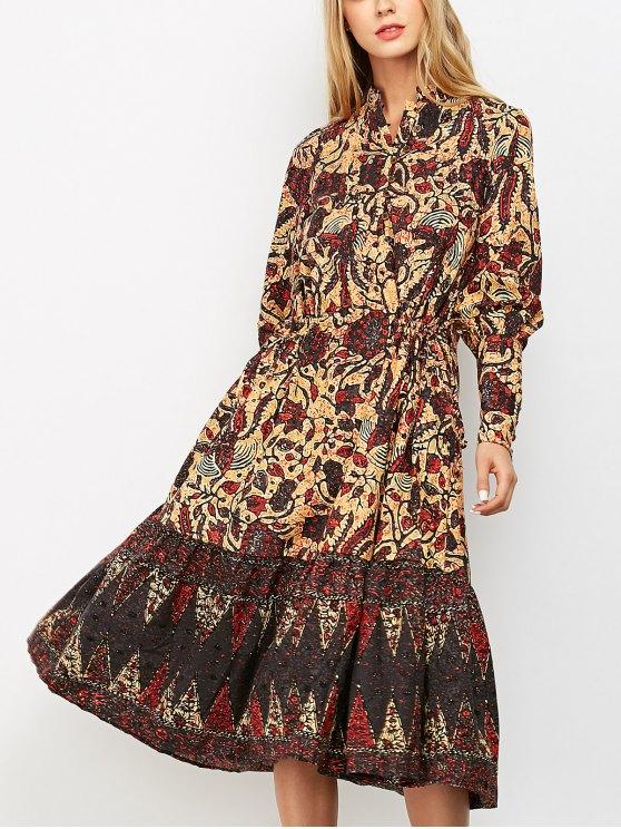 new Floral Print Vintage Midi Dress - COLORMIX S