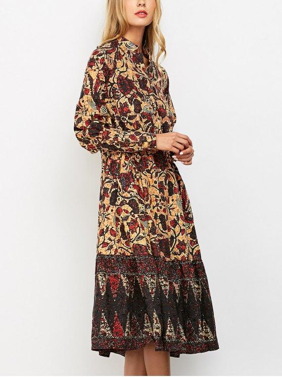 Floral Print Vintage Midi Dress - COLORMIX L Mobile