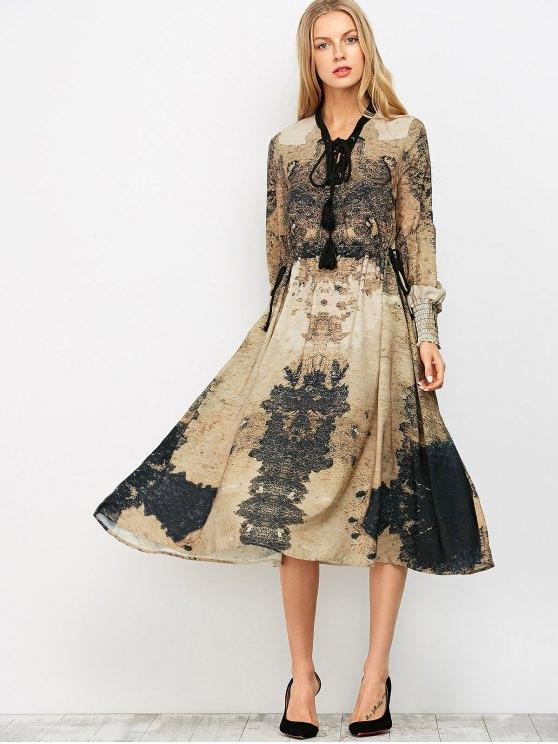 Printed Lace Up Bohemain Midi Dress - KHAKI M Mobile