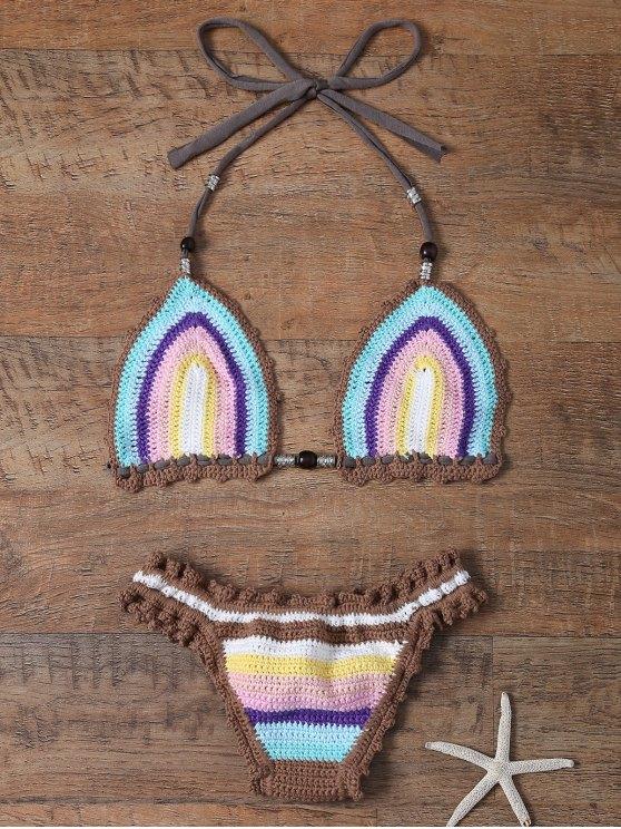 Colored Striped Halter Crochet Bikini Set - Azur Taille Unique(S'adap