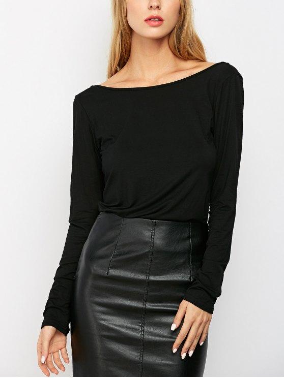 women Long Sleeve Low Back T-Shirt - BLACK XS