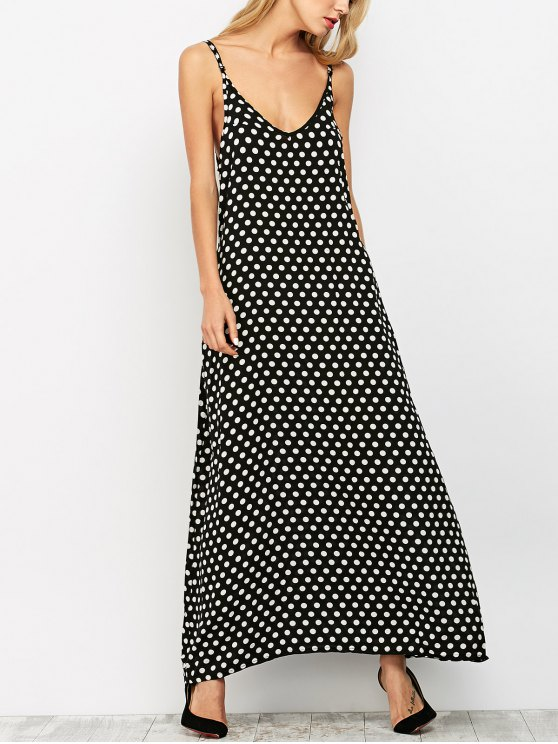 Summer Polka Dot A-Line Maxi Dress Black | ZAFUL