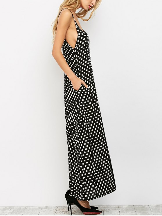 Polka Dot Slip Maxi Dress - BLACK XL Mobile
