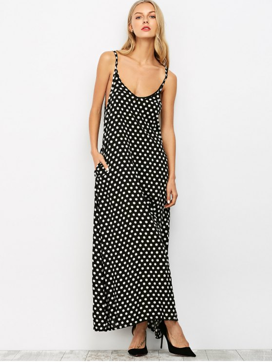 Polka Dot Slip Maxi Dress - BLACK M Mobile