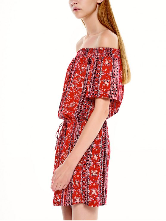 Drawstring Off Shoulder Printed Romper - CLARET S Mobile