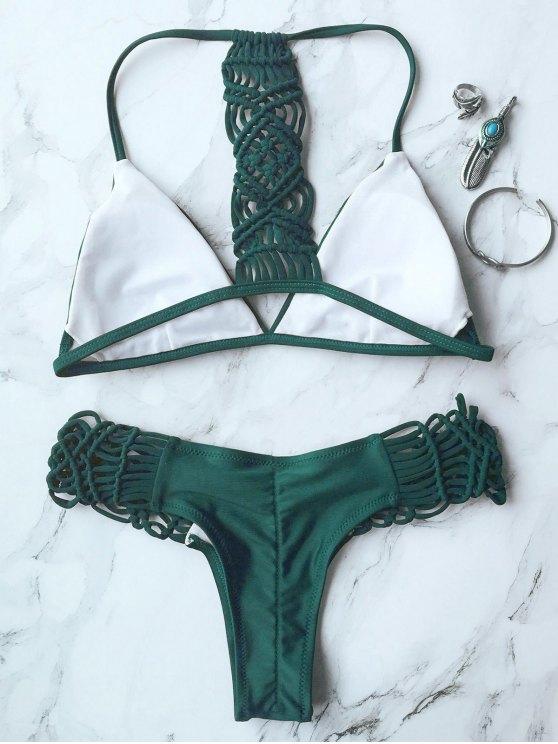 Knitting Strappy Bikini Set - GREEN S Mobile