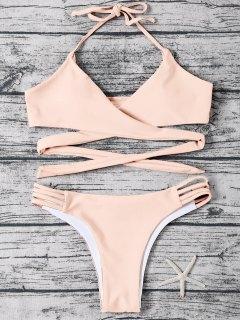 Strappy Halter Wrap Bikini Set - Light Apricot Pink L