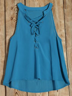 Lace-Up Tank Top - Blue M