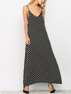 Polka Dot Maxi Slip Dress - Black Xl