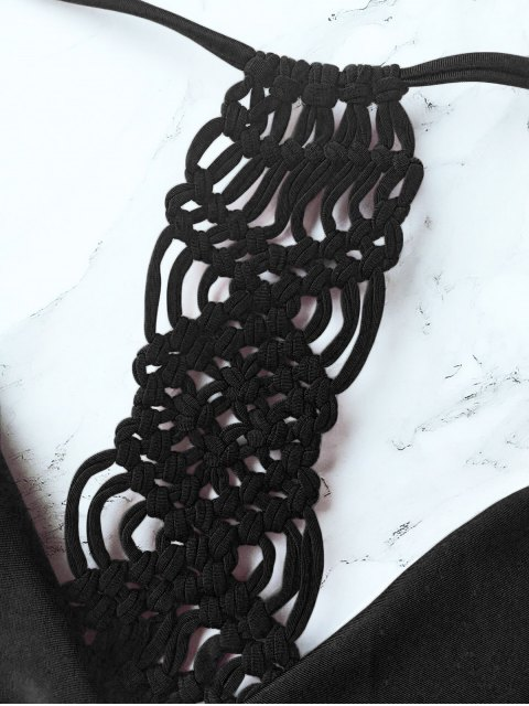 online Knitting Strappy Bikini Set - BLACK L Mobile