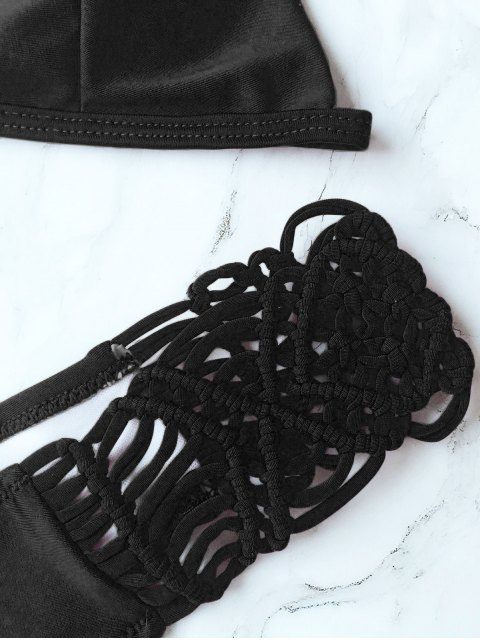 women's Knitting Strappy Bikini Set - BLACK S Mobile