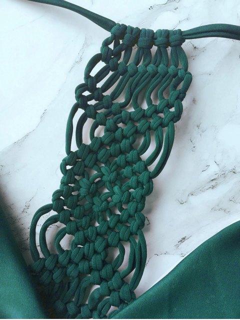 ladies Knitting Strappy Bikini Set - GREEN L Mobile