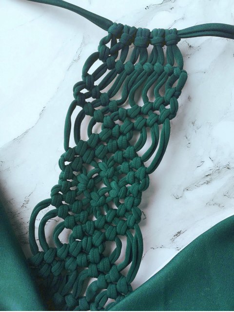 lady Knitting Strappy Bikini Set - GREEN M Mobile