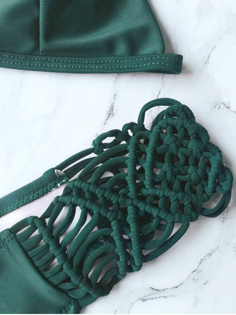 best Knitting Strappy Bikini Set - GREEN S Mobile