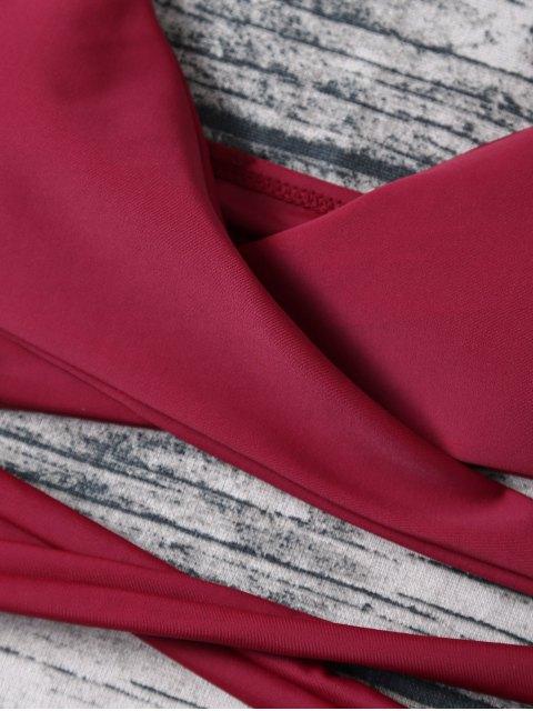 lady Strappy Halter Wrap Bikini Set - WINE RED L Mobile