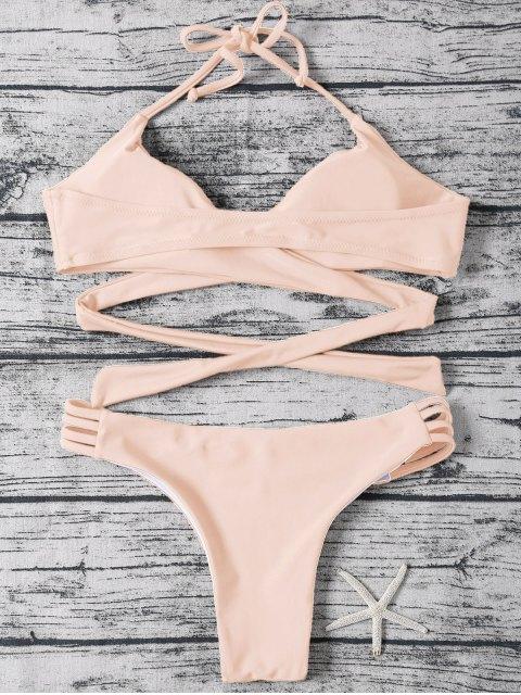 fashion Strappy Halter Wrap Bikini Set - LIGHT APRICOT PINK M Mobile