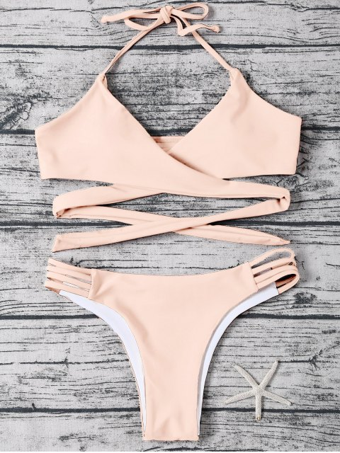chic Strappy Halter Wrap Bikini Set - LIGHT APRICOT PINK S Mobile