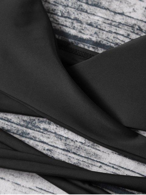 sale Strappy Halter Wrap Bikini Set - BLACK M Mobile