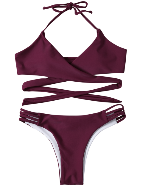 womens Strappy Halter Wrap Bikini Set - PURPLISH RED L Mobile