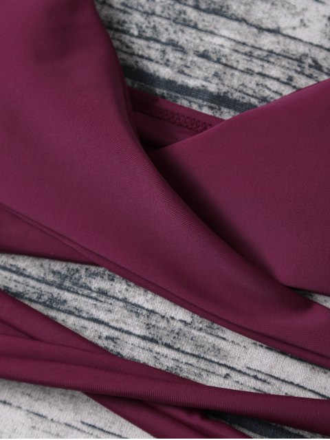 buy Strappy Halter Wrap Bikini Set - PURPLISH RED XL Mobile