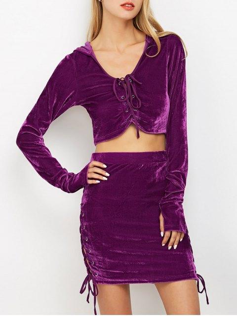 unique Lace Up Velvet Crop Top with Skirt - PURPLE M Mobile