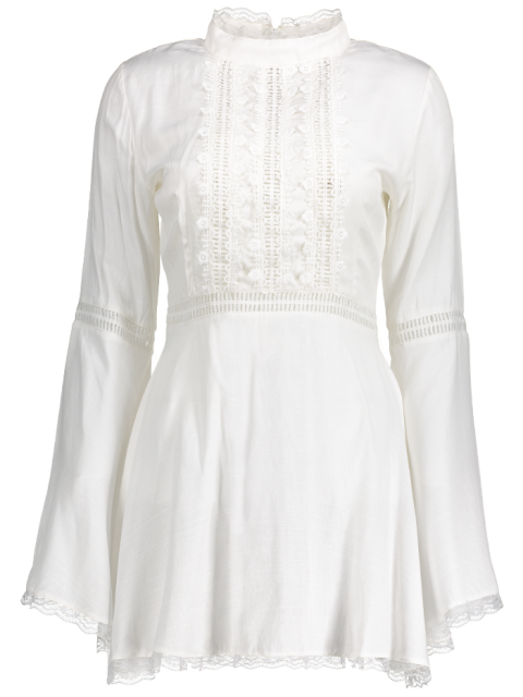latest Lace Trim Flare Sleeve Dress - WHITE L Mobile