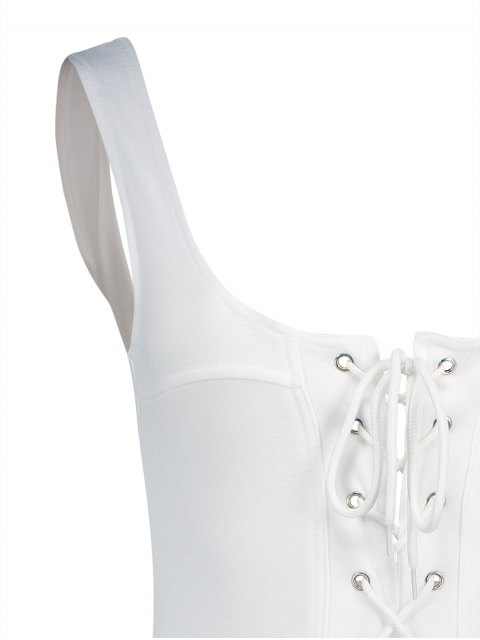 shop Lace-Up One-Piece Thong Swimwear - WHITE S Mobile