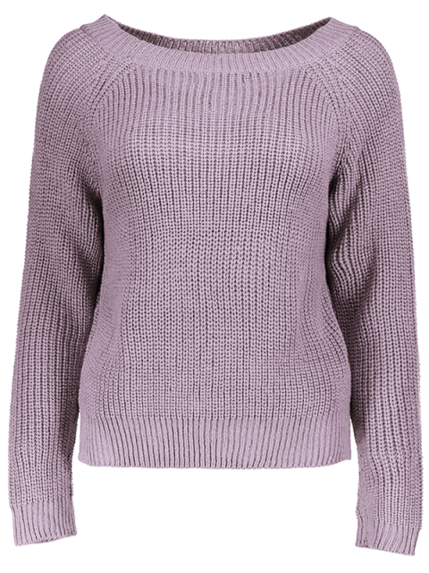 womens Boat Neck Loose Sweater - PURPLE ONE SIZE Mobile