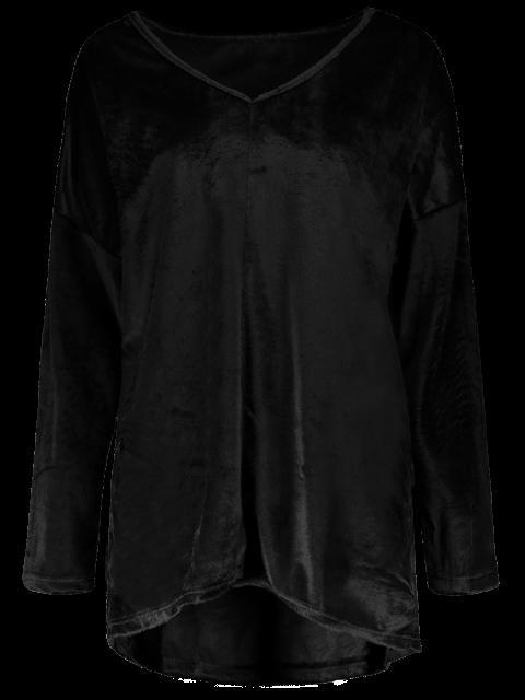 trendy Loose Long V Neck Sweater - BLACK XL Mobile