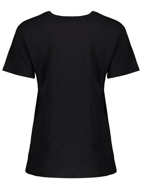 affordable Casual Streetwear Letter T-Shirt - BLACK L Mobile