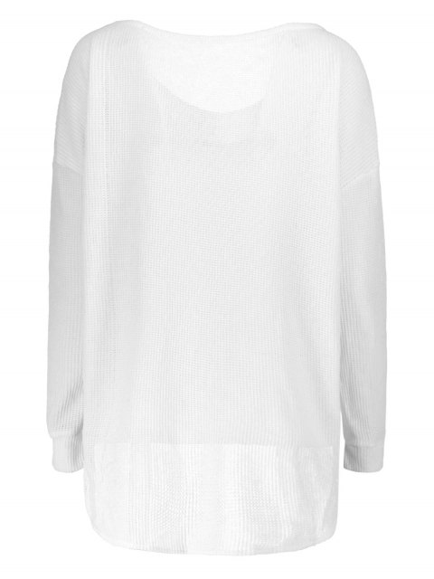 womens Loose One-Shoulder Sweater - WHITE M Mobile