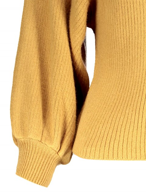 fancy Ribbed Puff Sleeve Mock Neck Sweater - YELLOW ONE SIZE Mobile