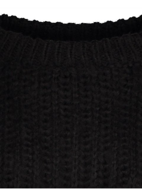 affordable Bell Sleeve Chunky Sweater - BLACK ONE SIZE Mobile
