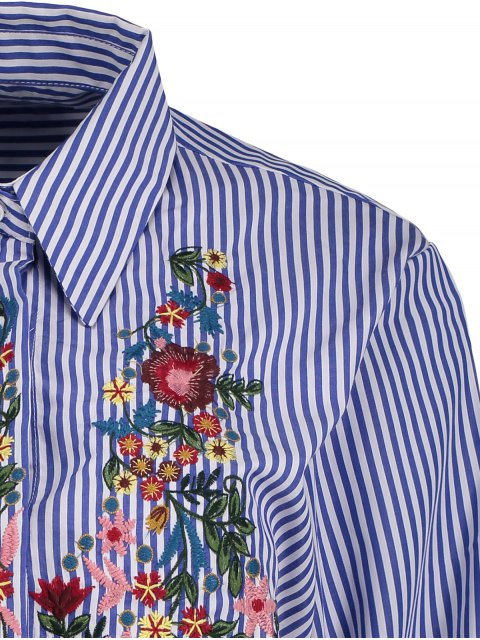 online Striped Floral Embroidered Collared Shirt - STRIPE S Mobile