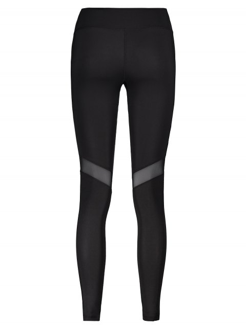 online Mesh Panel Leggings - BLACK S Mobile