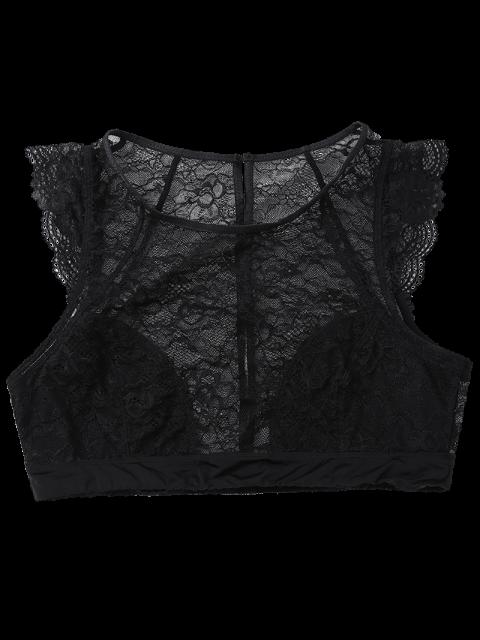 womens See Thru Lace Bralette Top - BLACK XL Mobile