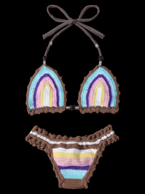 unique Striped Crochet Bikini Set - AZURE ONE SIZE(FIT SIZE XS TO M) Mobile