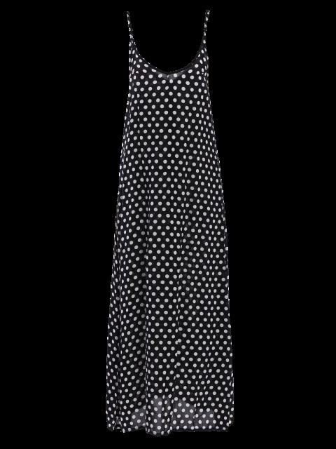 trendy Polka Dot Maxi Slip Dress - BLACK M Mobile