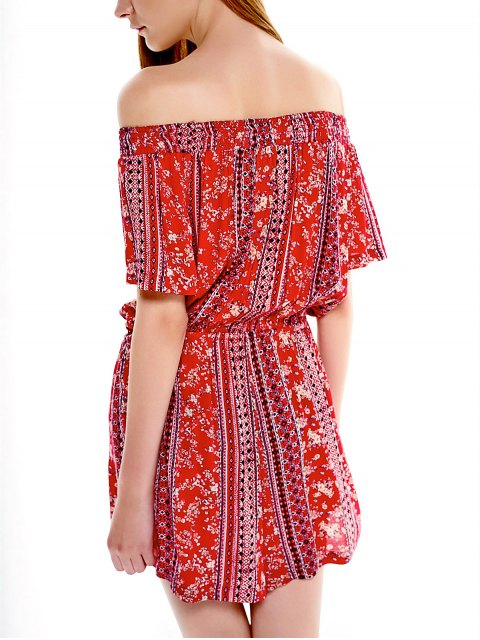 outfits Drawstring Off Shoulder Printed Romper - RED M Mobile