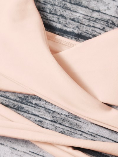Strappy Halter Wrap Bikini Set - LIGHT APRICOT PINK L Mobile