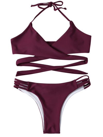 Strappy Halter Wrap Bikini Set - PURPLISH RED S Mobile