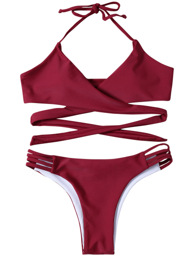 Strappy Halter Wrap Bikini Set - WINE RED S Mobile