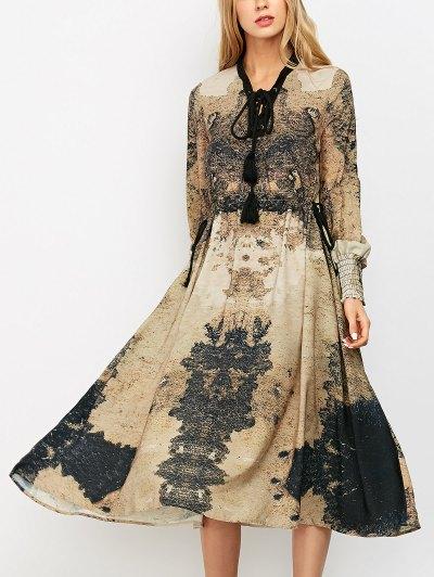 Printed Lace Up Bohemain Midi Dress - Caqui