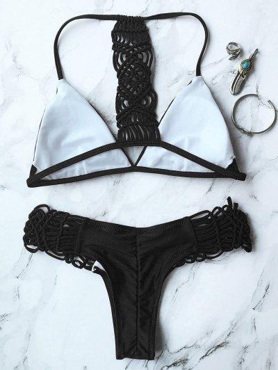 Knitting Strappy Bikini Set - BLACK L Mobile