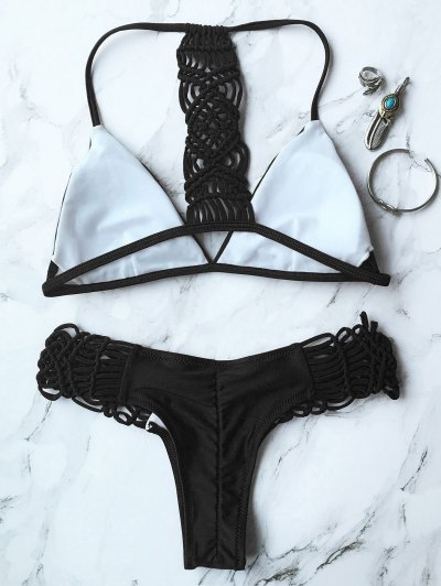 Knitting Strappy Bikini Set - BLACK M Mobile